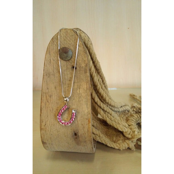 Horseshoe Necklace -Medium, Hot Pink Rhinestones - Oak Spring Bling