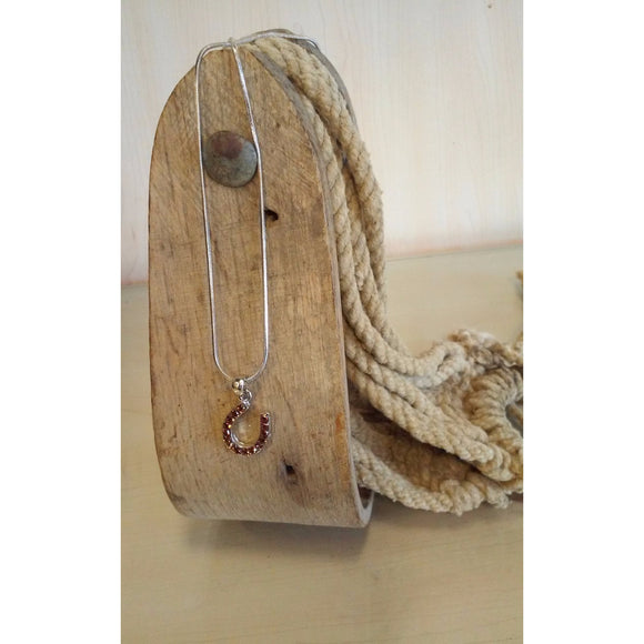 Horseshoe Necklace - Small, Dark Topaz - Oak Spring Bling