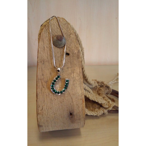 Horseshoe Necklace -Medium, Emerald Rhinestones - Oak Spring Bling