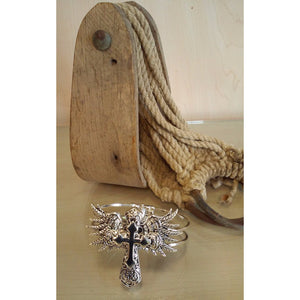 Wings Cross Hinged Bracelet - Oak Spring Bling