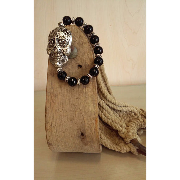 Sugar Skull with Black Beads. Stretch Bracelet - Oak Spring Bling