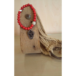 Sugar Skull Red Beaded Stretch Bracelet - Oak Spring Bling