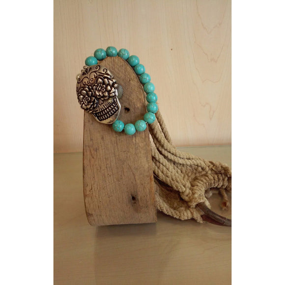 Sugar Skull Turquoise Beaded Stretch Bracelet - Oak Spring Bling