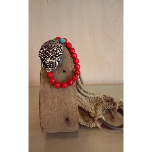 Sugar Skull  - Red Beaded Stretch Bracelet - Oak Spring Bling