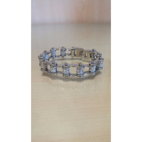 Bike Chain Bracelet - Silver Double Bling