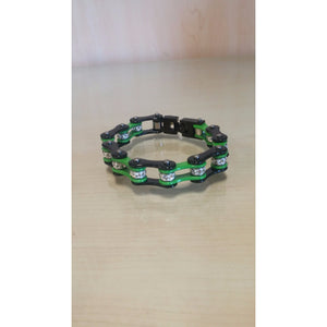 Bike Chain Bracelet - Black & Green Single Bling - Oak Spring Bling