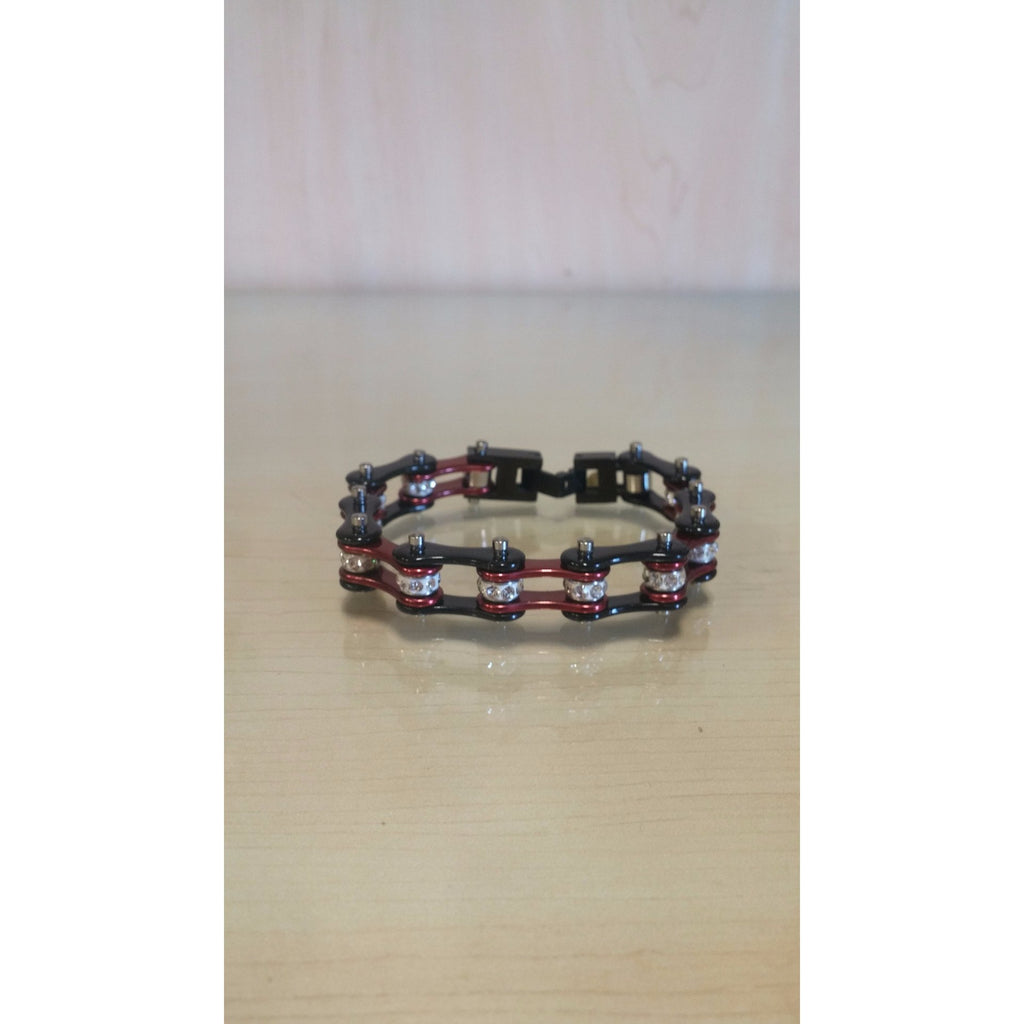 Bike Chain Bracelet - Black & Candy Red Single Bling - Oak Spring Bling