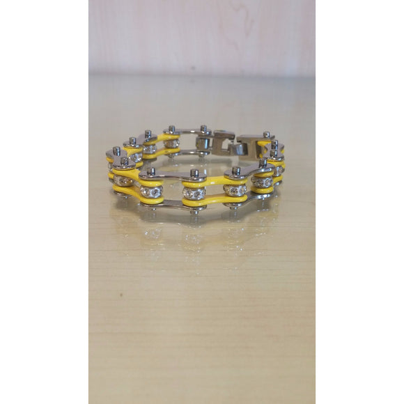 Bike Chain Bracelet - Silver & Yellow Single Bling - Oak Spring Bling