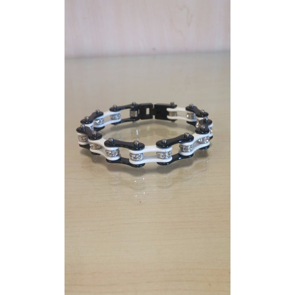 Bike Chain Bracelet - Black & White Single Bling - Oak Spring Bling