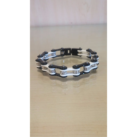 Bike Chain Bracelet - Black & White Single Bling