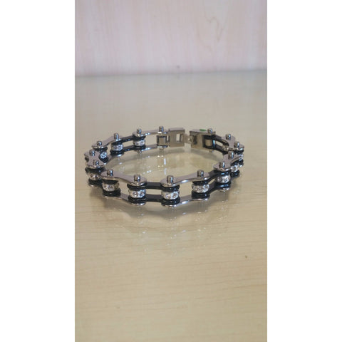Bike Chain Bracelet - Silver & Black Single Bling