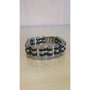 Bike Chain Bracelet - Silver & Black - Oak Spring Bling