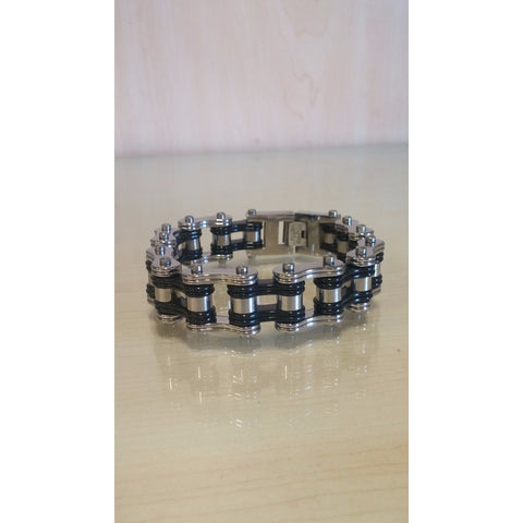 Bike Chain Bracelet - Silver & Black