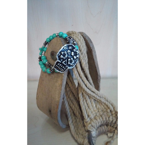 Sugar Skull Stretch Bracelet - Oak Spring Bling