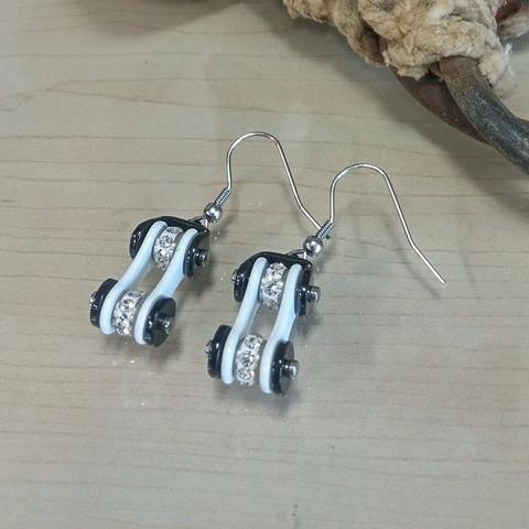 Bike Chain Earrings -White - Oak Spring Bling