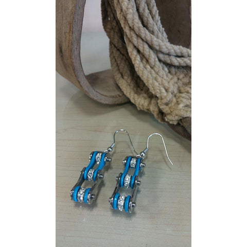 Bike Chain Earrings - Silver & Turquoise