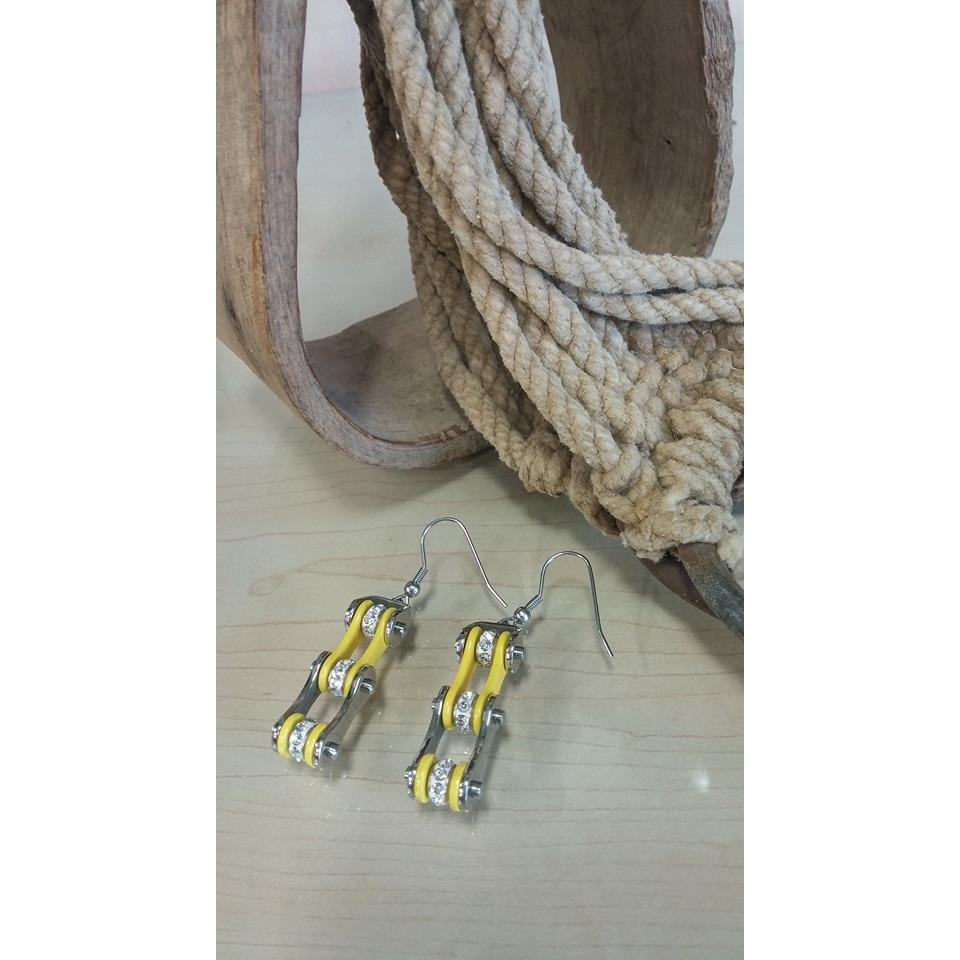 Bike Chain Earrings -Silver & Yellow - Oak Spring Bling
