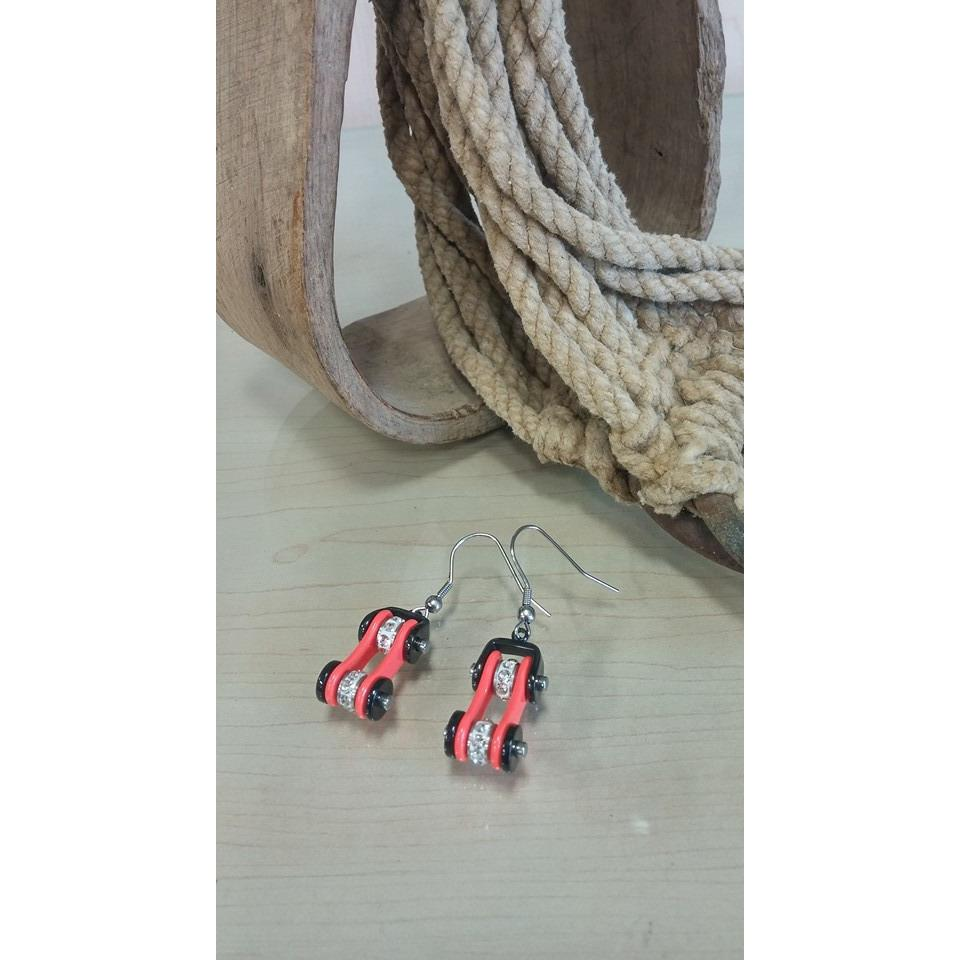 Bike Chain Earrings - Black & Orange - Oak Spring Bling
