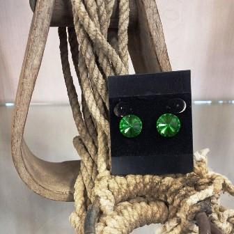 Crystal Post Earrings - Green