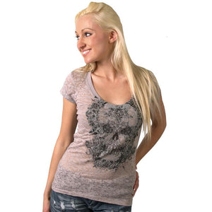 Ladies Victorian Skull Scoopneck Burnout Tee - Oak Spring Bling