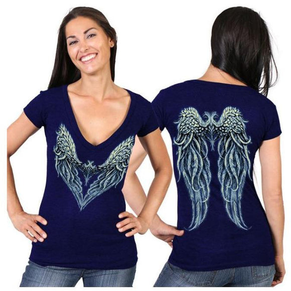 Angel Heart 2 Ladies V-Neck T-Shirt - Oak Spring Bling