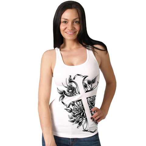 Cross and Roses White Boy Beater Ladies Tank Top