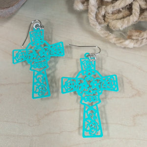 Cross and sugar skull earrings - Oak Spring Bling
