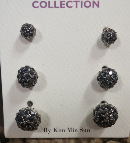 3 piece hematite balls earrings