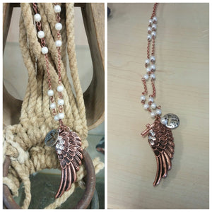 Coppertone and Pearl Necklace - Oak Spring Bling