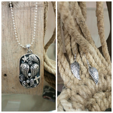 """Dogtag"" Wing Necklace & Earring Set"