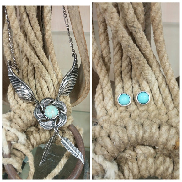 Wing with Turquoise Accent Necklace & Earring Set