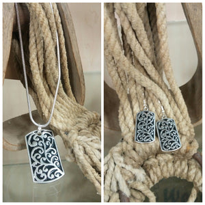 Dogtag Scroll Necklace & Earring Set - Oak Spring Bling
