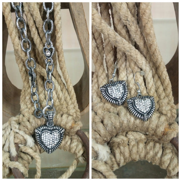 Heart Necklace & Earring Set