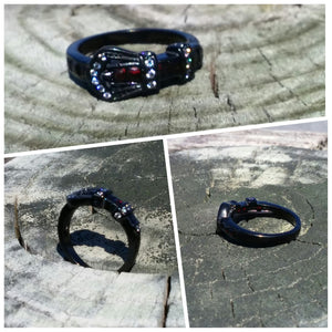 Stainless Steel Buckle Ring - Black - Oak Spring Bling