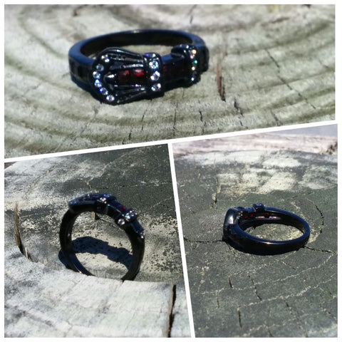 Stainless Steel Buckle Ring - Black
