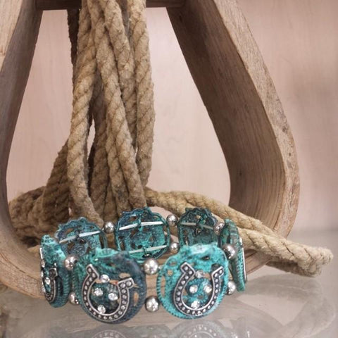 Aztec Inspired Burnished Patina Stretch Bracelet