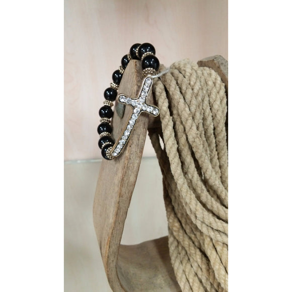 Cross Stretch Black Beaded Bracelet - Oak Spring Bling