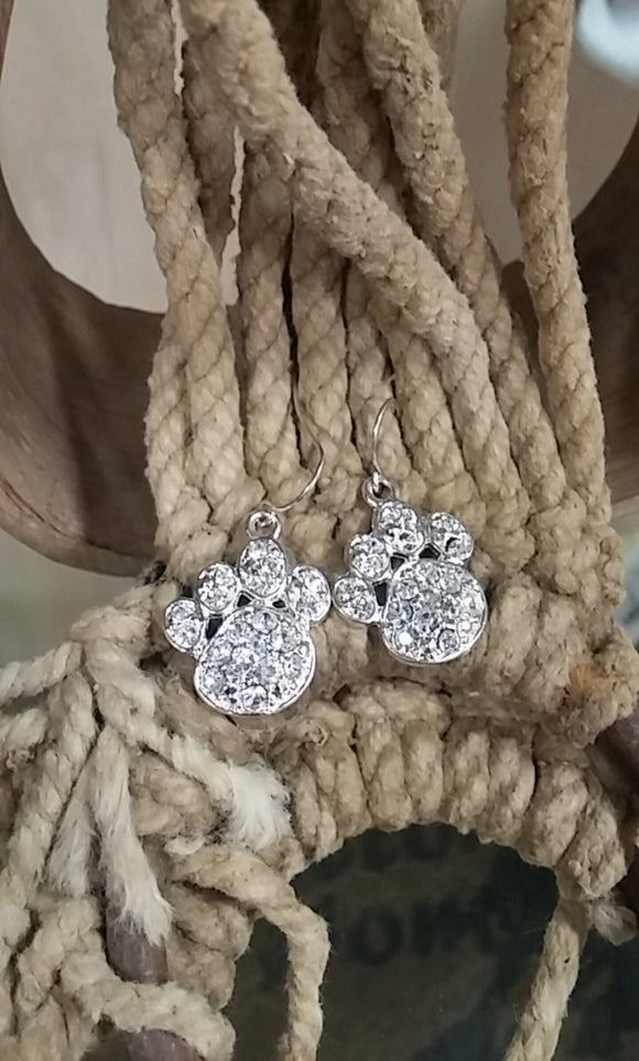 Bling Dog Paw Earrings - Oak Spring Bling