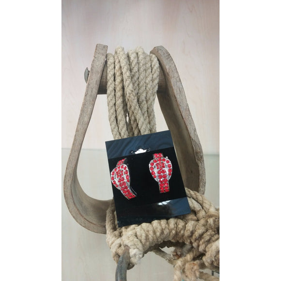 Buckle Earrings - Red - Oak Spring Bling