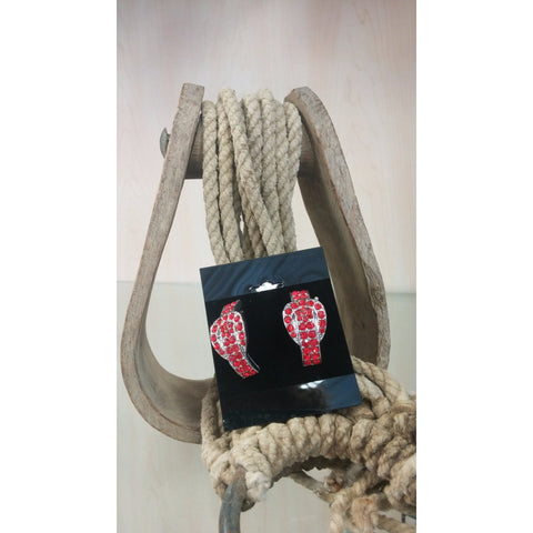 Buckle Earrings - Red