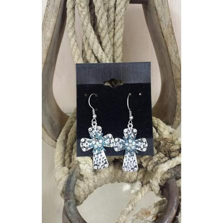 Hammered Cross Earrings with Turquoise Rowel - Oak Spring Bling