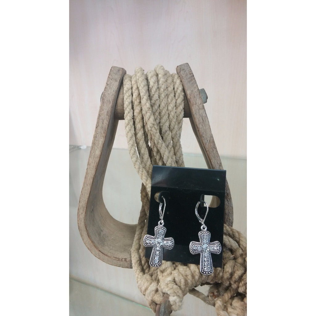 Cross with Rhinestones Earrings - Oak Spring Bling