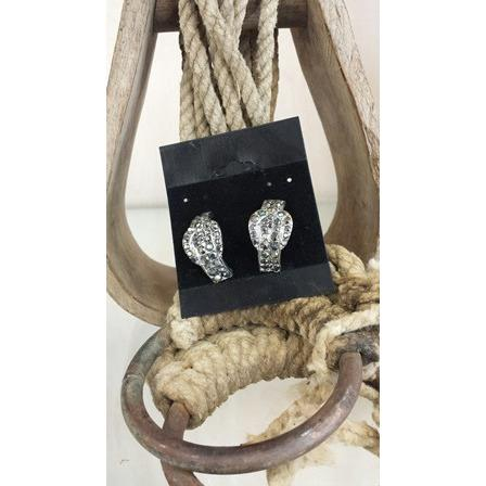 Buckle Earrings - Hematite