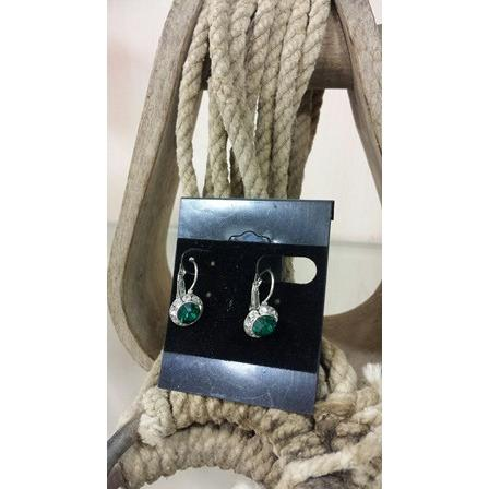 Leverback Rhinestone Earrings - Emerald Green - Oak Spring Bling
