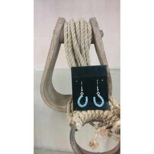 Horseshoe Earrings - Aqua Blue - Oak Spring Bling