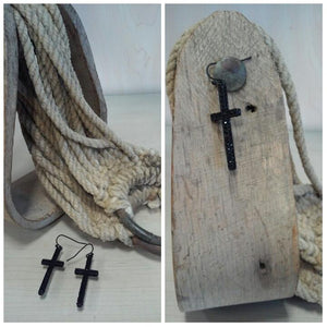 Cross Earrings -Black - Oak Spring Bling