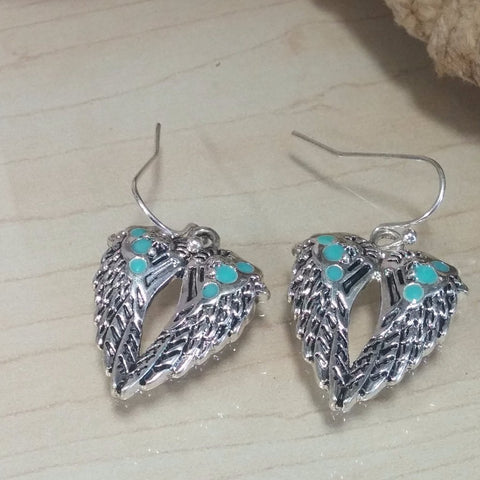 Wing Pendant & Earring Set with Turquoise Accents