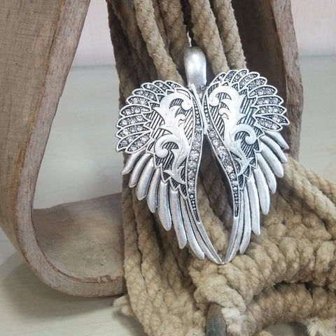 Wings with Bling Pendant & Earring Set