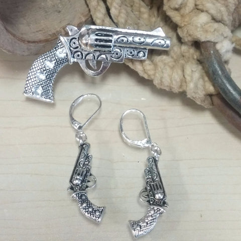 Gun Pendant and Earrings Set