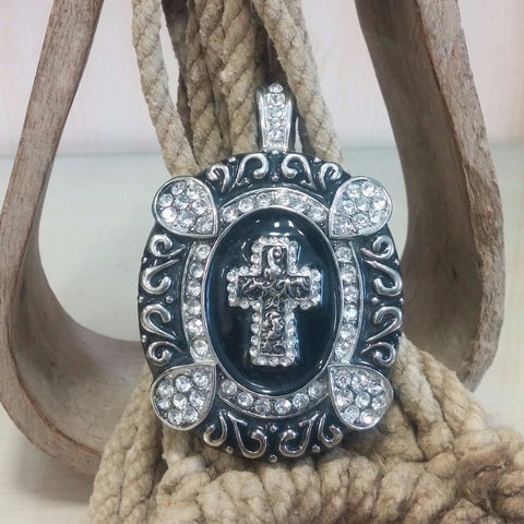 Cross in Oval Bling Pendant